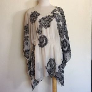Lane Bryant Floral Pattern Wing Sleeve Blouse